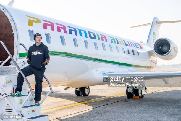 Fedez during the Paranoia Airlines presentation at Aeroporto di Linate on January 22 2019 in Milan Italy