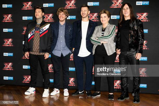 Fedez Lodo Guenzi Alessandro Cattelan Mara Maionchi and Manuel Agnelli attend X Factor 2018 photocall at Teatro Linear Ciak on October 22 2018 in...