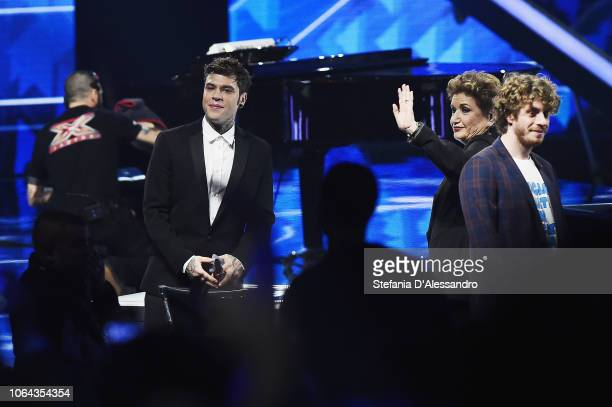 Fedez Mara Maionchi and Lodo Guenzi attend X Factor tv show at Teatro Linear Ciak on November 22 2018 in Milan Italy