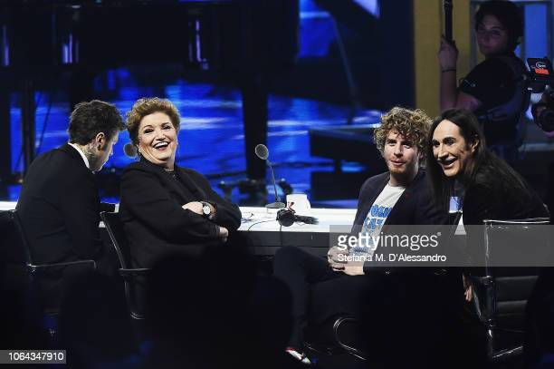 Fedez Mara Maionchi Lodo Guenzi and Manuel Agnelli attend X Factor tv show at Teatro Linear Ciak on November 22 2018 in Milan Italy