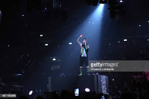 Fedez performs at Mediolanum Forum of Assago on March 21, 2015 in Milan, Italy.
