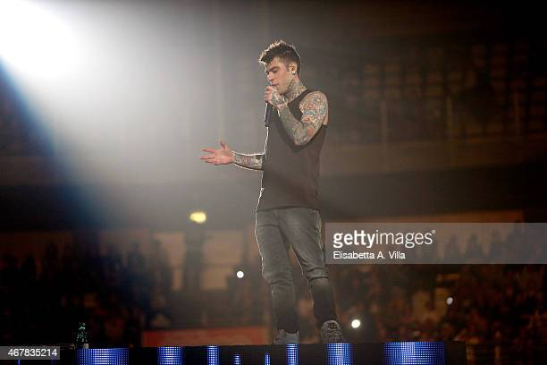 Fedez performs on stage at Palalottomatica on March 27 2015 in Rome Italy