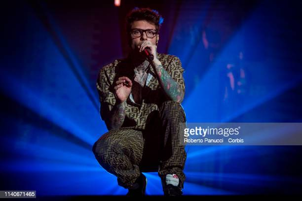 Fedez performs on stage on April 5 2019 in Rome Italy