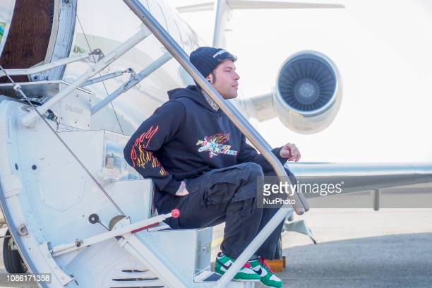 Fedez presents his new Album 'Paranoia Airlines' at Aeroporto di Linate on January 22 2019 in Milan Italy