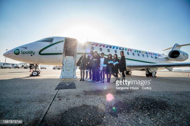 Fedez presents his new Album Paranoia Airlines with his fans of the Spotify contest at Aeroporto di Linate on January 22 2019 in Milan Italy
