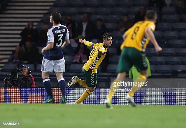 Fedor Cernych of Lithuania celebrates after he scores the opening goal during the FIFA 2018 World Cup Qualifier between Scotland and Lithuania at...