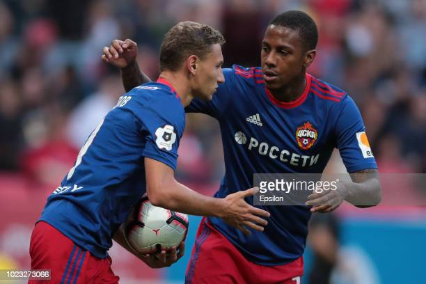Fedor Chalov and Abel Hernandez of PFC CSKA Moscow celebrate a goal during the Russian Football League match between FC Rubin Kazan and PFC CSKA...