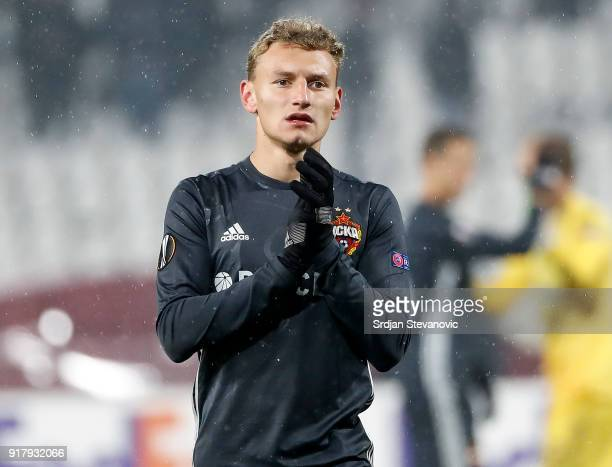 Fedor Chalov of CSKA Moscow looks on after the UEFA Europa League Round of 32 match between Crvena Zvezda Belgrade and CSKA Moscow at the Rajko Mitic...