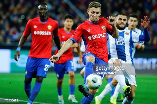 Fedor Chalov of CSKA Moskva vies for the ball during the UEFA Europa League Group H match between CSKA Moskva and Espanyol at CSKA Arena in Moscow,...