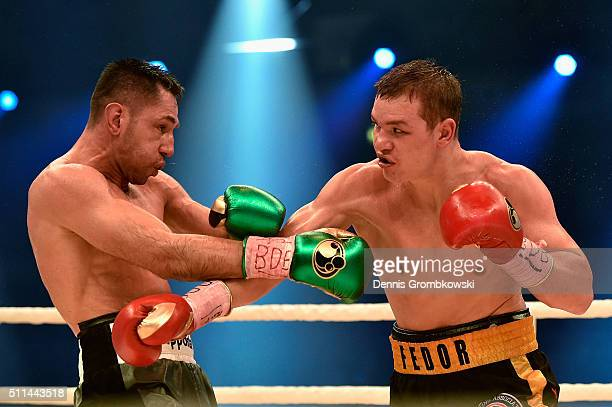 Fedor Chudinov of Russia throws a punch at Felix Sturm of Germany during the WBA Super Middleweight World Championship fight at KoenigPilsner Arena...