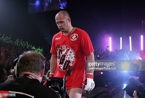 Fedor Emelianenko enters the arena before his fight against Dan Henderson at the Strikeforce event at Sears Centre Arena on July 30 2011 in Hoffman...
