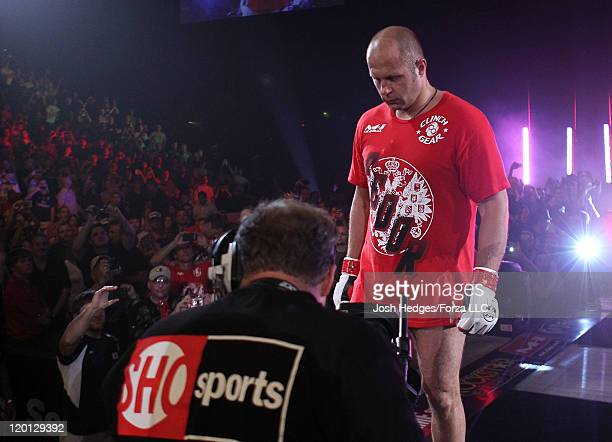 Fedor Emelianenko enters the arena before his heavyweight fight against Dan Henderson at the Strikeforce event at Sears Centre Arena on July 30 2011...