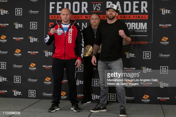 Fedor Emelianenko left Bellator president Scott Coker and Ryan Bader during Bellator 214 Media Day at the Westin Los Angeles Airport in Los Angeles...