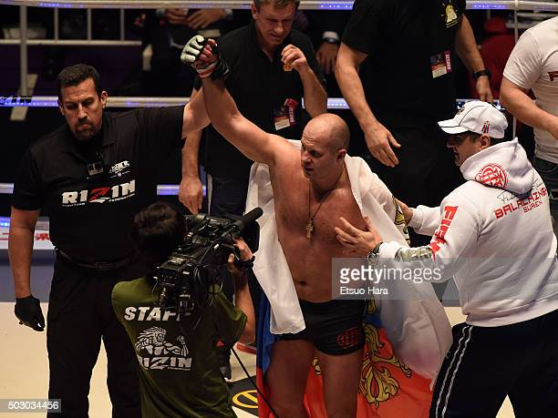 Fedor Emelianenko of Russia celebrates his victory in the bout Rizin Fighting World Grand Prix against Singh Jaideep of India during the Rizin Iza...