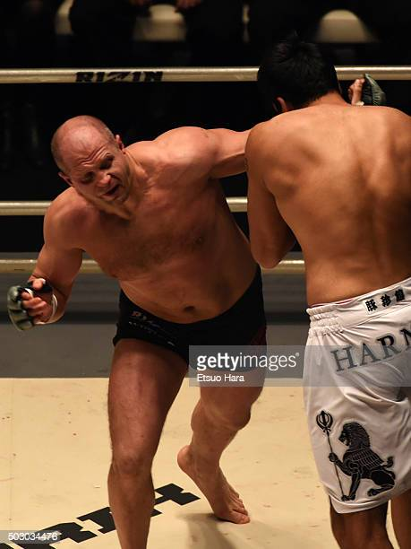 Fedor Emelianenko of Russia punches Singh Jaideep of india in the bout Rizin Fighting World Grand Prix during the Rizin Iza Saltation at Saitama...