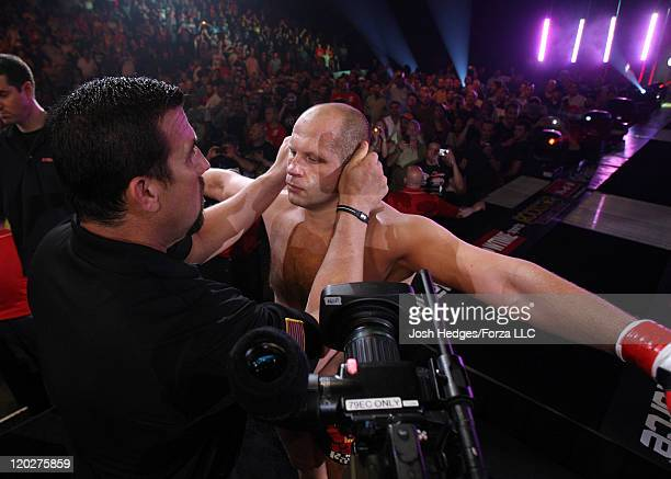 Fedor Emelianenko prepares to enter the cage before his fight against Dan Henderson at the Strikeforce event at Sears Centre Arena on July 30 2011 in...