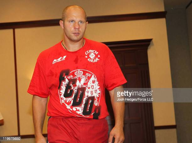 Fedor Emelianenko works out for the media on July 27 2011 in Hoffman Estates Illinois