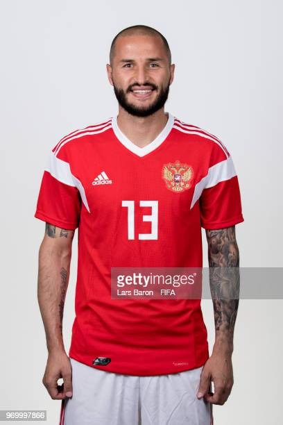 Fedor Kudriashov of Russia poses for a portrait during the official FIFA World Cup 2018 portrait session at Federal Sports Centre Novogorsk on June 8...