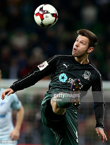 Fedor Smolov of FC Krasnodar in action during the Russian Premier League match between FC Krasnodar v FC Zenit St Petersburg at Krasnodar Stadium on...