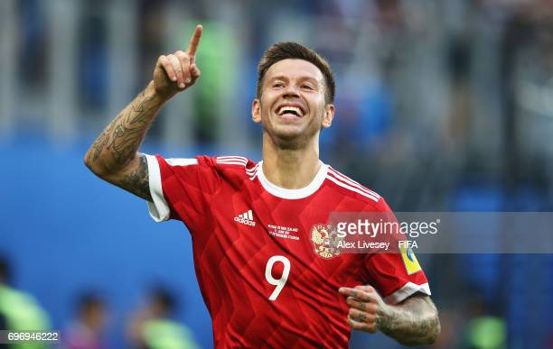 Fedor Smolov of Russia celebrates scoring his sides second goal during the FIFA Confederations Cup Russia 2017 Group A match between Russia and New...