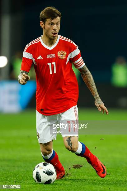 Fedor Smolov of Russia during Russia and Spain International friendly match on November 14 2017 at Saint Petersburg Stadium in Saint Petersburg Russia