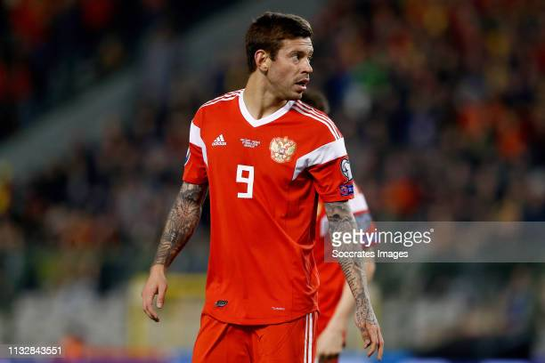 Fedor Smolov of Russia during the EURO Qualifier match between Belgium v Russia at the Koning Boudewijn Stadium on March 21, 2019 in Brussel Belgium