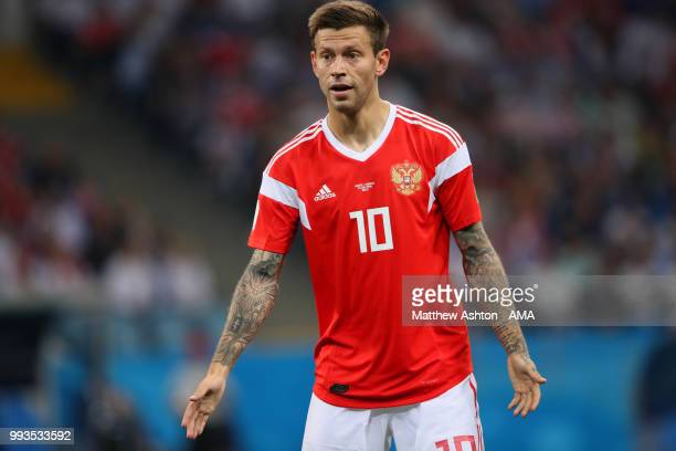 Fedor Smolov of Russia in action during the 2018 FIFA World Cup Russia Quarter Final match between Russia and Croatia at Fisht Stadium on July 7 2018...