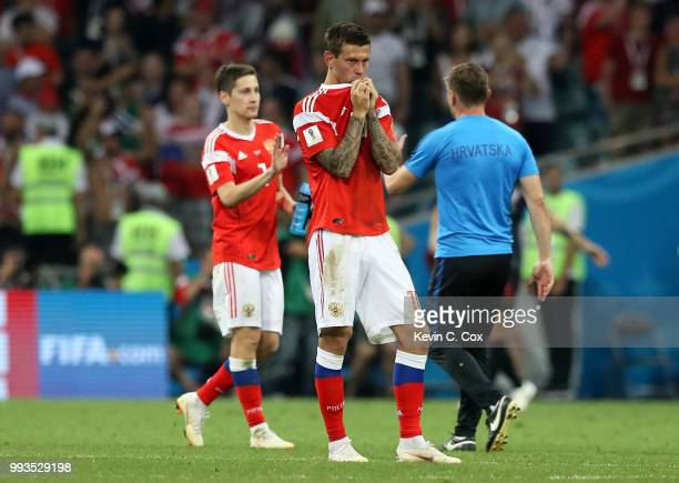 Fedor Smolov of Russia looks dejected following his sides defeat in the 2018 FIFA World Cup Russia Quarter Final match between Russia and Croatia at...