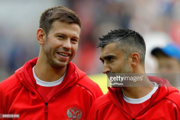 Fedor Smolov of Russia national team and Alexander Samedov of Russia national team during the Group A FIFA Confederations Cup Russia 2017 match...