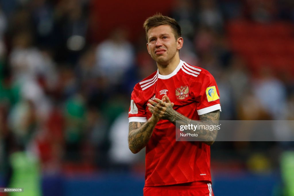 Fedor Smolov of Russia national team reacts after his team lost during the Group A - FIFA Confederations Cup Russia 2017 match between Russia and Mexico at Kazan Arena on June 24, 2017 in Kazan, Russia.