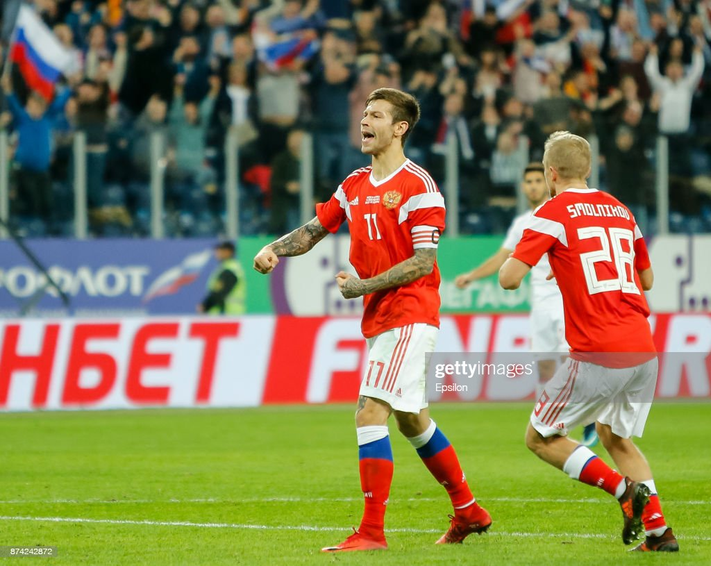Fedor Smolov of Russia (L) reacts during Russia and Spain International friendly match on November 14, 2017 at Saint Petersburg Stadium in Saint Petersburg, Russia.