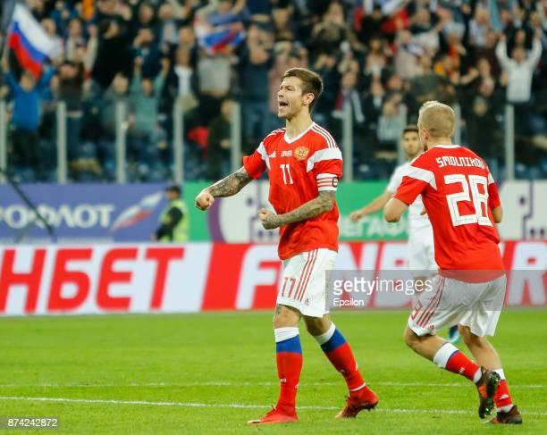 Fedor Smolov of Russia reacts during Russia and Spain International friendly match on November 14 2017 at Saint Petersburg Stadium in Saint...
