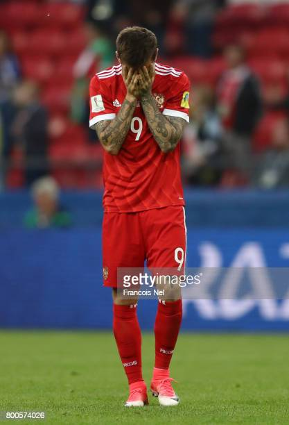 Fedor Smolov of Russia shows dejection after the FIFA Confederations Cup Russia 2017 Group A match between Mexico and Russia at Kazan Arena on June...