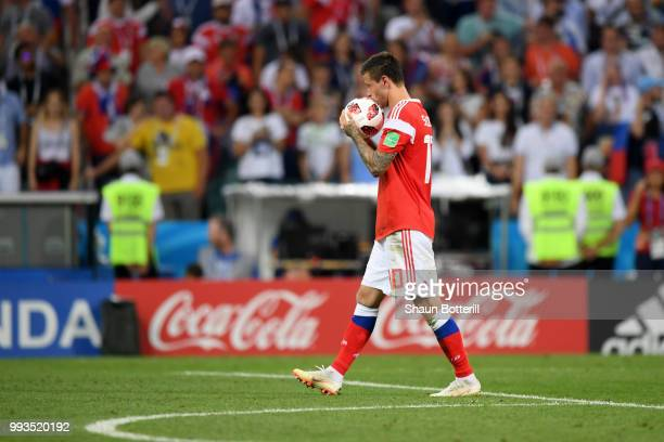 Fedor Smolov of Russia takes the ball on the preanlty spot before missing his team's first penalty in the penalty shoot out during the 2018 FIFA...