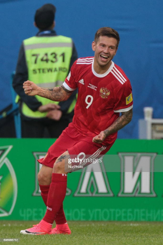 Fedor Smolov of the Russian national football team celebrates after scoring goal during the 2017 FIFA Confederations Cup match, first stage - Group A between Russia and New Zealand at Saint Petersburg Stadium on June 17, 2017 in St. Petersburg, Russia.
