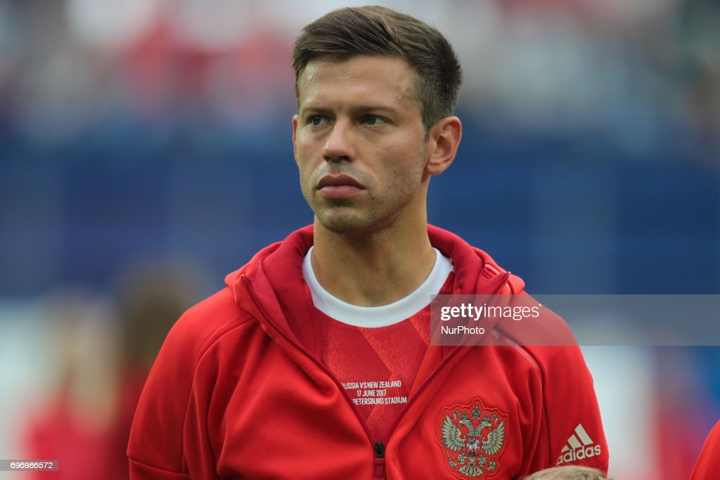 Fedor Smolov of the Russian national football team during the 2017 FIFA Confederations Cup match, first stage - Group A between Russia and New Zealand at Saint Petersburg Stadium on June 17, 2017 in St. Petersburg, Russia.