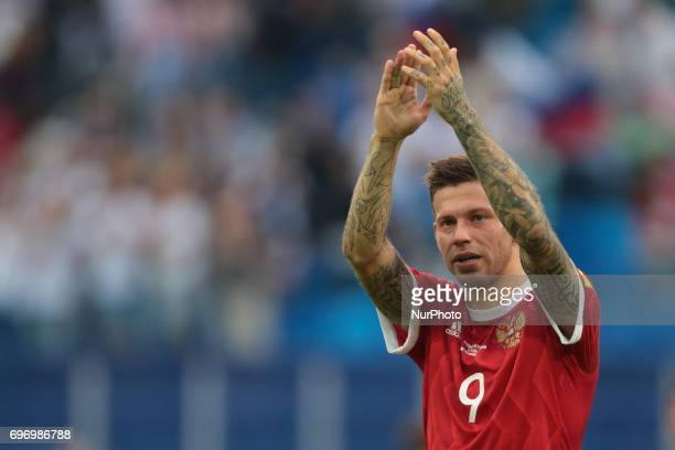 Fedor Smolov of the Russian national football team elebrates victory after the 2017 FIFA Confederations Cup match first stage Group A between Russia...