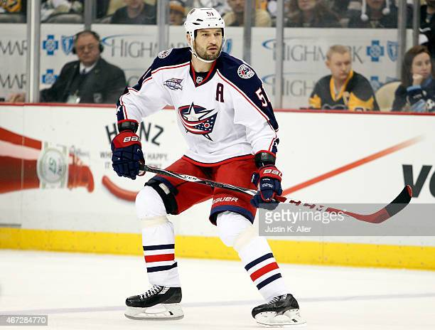 Fedor Tyutin of the Columbus Blue Jackets skates against the Pittsburgh Penguins during the game at Consol Energy Center on March 1 2015 in...