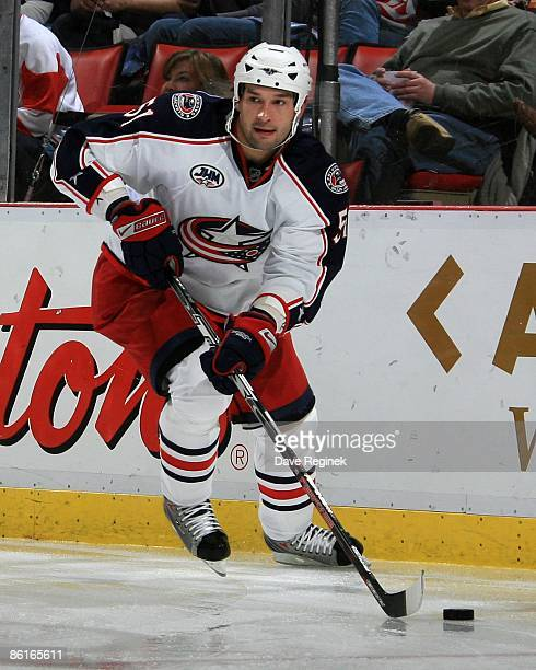 Fedor Tyutin of the Columbus Blue Jackets skates with the puck during Game One of the Western Conference Quarterfinals against the Detroit Red Wings...