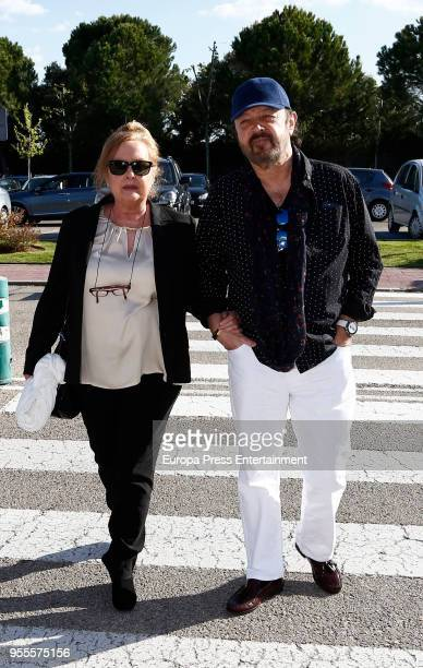 Fedra Lorente and Miguel Morales attend Jose Maria Inigos funeral chapel on May 5 2018 in Madrid Spain
