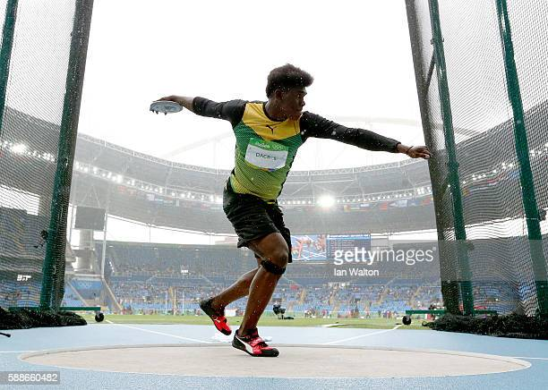 Fedrick Dacres of Jamaica competes in the Men's Discus on Day 7 of the Rio 2016 Olympic Games at the Olympic Stadium on August 12 2016 in Rio de...