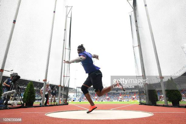 Fedrick Dacres of Team Americas competes in the Mens Discus Throw during day one of the IAAF Continental Cup at Mestsky Stadium on September 8 2018...