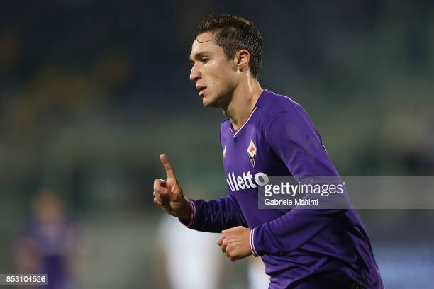 Fedrico Chiesa of ACF Fiorentina celebrates after scoring a goal during the Serie A match between FC Crotone and Benevento Calcio at Stadio Artemio...