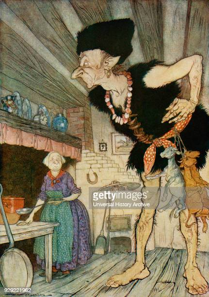 Fee fi fo fum I smell the blood of an Englisman Illustration from Jack and the Beanstalk from the book English Fairy Tales retold by FA Steel with...