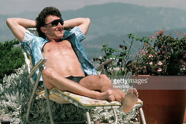 Fee Waybill of The Tubes lounges during a video shoot at a house in Laurel Canyon, Los Angeles.