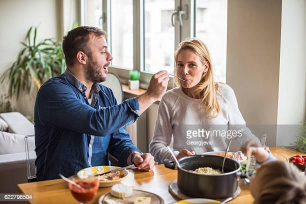 Feeding her wife