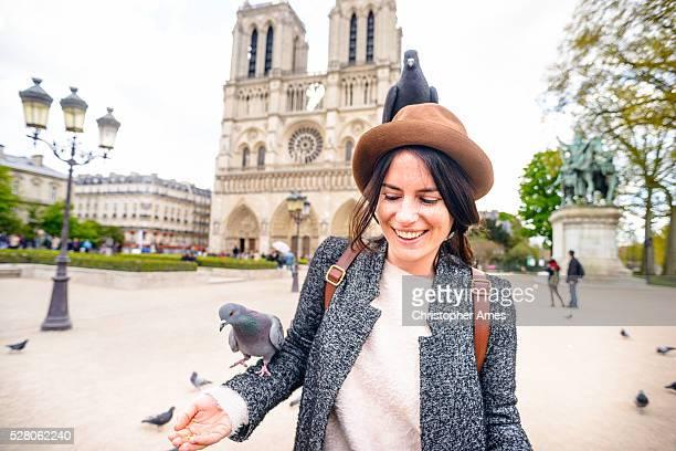 Alimentation des Pigeons dans la cathédrale Notre-Dame de Paris, France