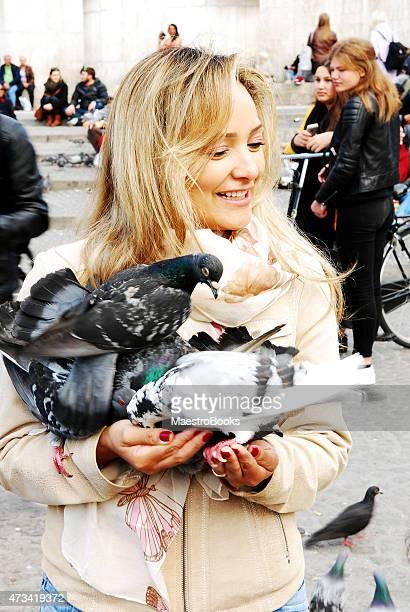 feeding pigeons with elegance. - gedomesticeerde dieren stockfoto's en -beelden