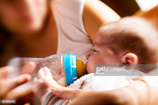 Feeding with a baby bottle