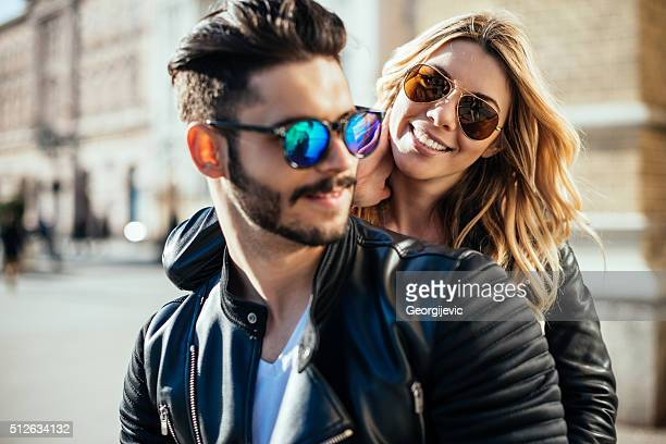 feeling happy together - sunglasses stock photos and pictures